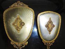 Vintage Gold Tone Vanity Brush And Hand Mirror