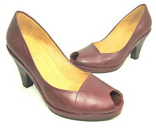 "COCLICO WOMEN'S ""POLLY PEEP TOE"" PUMP BORDEAUX LEATHER US SIZE 7 MEDIUM (B)M NEW"