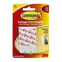 3M Command Strips Picture Poster Hanging Hangers Medium Refill 9 pack 17021P