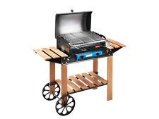FERRABOLI BARBECUE A GAS Roccia legno griglia coperchio ruote 122x46 gpl art.52