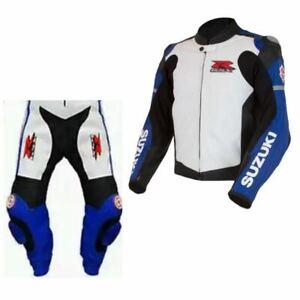 Suzuki GSXR Motocicleta Carreras Cuero Hombres Traje Protegido Armadura