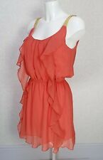 LOVESTRUCK sheer Orange Gold strappy mini Ruffle Frill flare skater dress S 8/10
