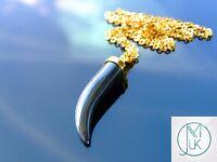 Hematite Gemstone Pepper Pendant Necklace with Chain Healing Chakra