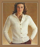 "Lady's Aran style Cardigan Knitting Pattern with collar in DK 30-36"" 981"