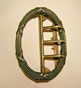 Vtg Victorian Georgian French Sterling Silver and Rolled Gold Belt Buckle