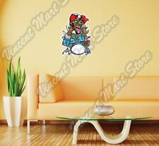"Crazy Drum Player Funny Rock Music Wall Sticker Room Interior Decor 17""X25"""