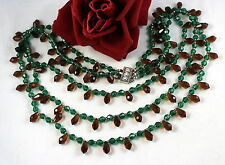 Beaded Necklace Feral Cat Rescue Vintage 3 Strand Green & Amber