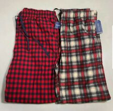 Nautica Men Size Small Fleece Pajama Pant Lounge Red Plaid 2-Pack NEW Super Soft