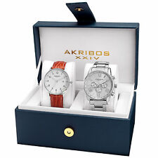 New Men's Akribos XXIV AK884SS Silver-tone Bracelet and Strap Watch Set