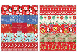 10 x SHEETS CHRISTMAS GIFT WRAP WRAPPING PAPER 10 ASSORTED DESIGNS FLAT WRAP