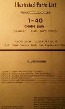 McCulloch 1-40 Chain Saw Parts Manual 14pg Chainsaw 1959 Gas Engine 2-Stroke