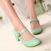 Retro Women Pumps T-Strap New Cuban Heel Vintage Shoes Plus Size Sweet Mary Jane