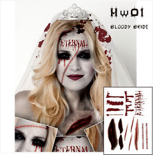 HALLOWEEN TATTOO BLOODY BRIDE TEMPORARY TATTOO FAKE BLOOD SCARS HALLOWEEN SCARY