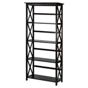 5 Shelf Bookcase Bookshelf Tall Wide Display Farmhouse Solid Wood Espresso New