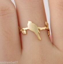Beautiful Bird Standing on Branch Ring ~ Cute Animal Jewelery Gold Size M 6.5