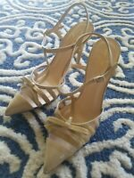 Kate Spade New York Nude Size 8 Patent Leather Tan Slingback Heels