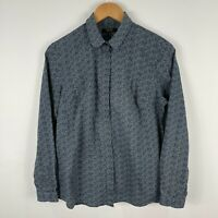 TM Lewin Womens Shirt Top 12 Blue Long Sleeve Collared Button Closure Slim Fit