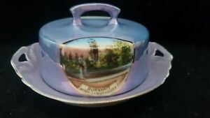 MEGA RARE EARLY PORCELAIN BUTTER DISH WITH ENGLISH SCENES {crown stamp on base}