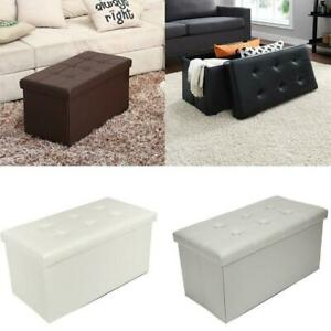 "30"" L Leather Folding Storage Ottoman- Faux Leather Storage Bench Footstools"