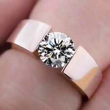 Damenring Silber Rosegold plattiert Zirkonia Kristall Stein Verlobungsring