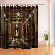 Egyptian Temple Decor Bathroom Shower Curtain Fabric w/12 Hooks 71*71inches