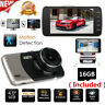 """4""""1080P Dual Lens Car Dash Cam Front and Rear Camera DVR Recorder with SD Card"""