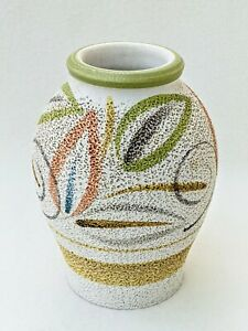 Langley Stoneware Vase Textured Finish Vintage Glyn Colledge 1960s Green Browns