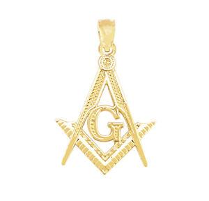 10K Yellow Solid Gold Masonic FreeMasonry Pendant Charm