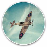 2 x Vinyl Stickers 7.5cm - British RAF Spitfire Vintage Plane Cool Gift #16310