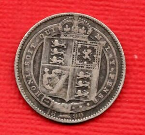 1890 STERLING SILVER SHILLING COIN. QUEEN VICTORIA JUBILEE HEAD. WELL USED.