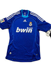 NEW w/ TAGS Vintage Real Madrid FC Soccer White Blue Adidas Jersey Mens Small