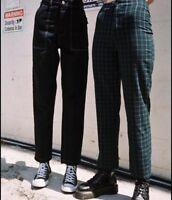 brandy melville green/navy plaid high rise kim pants sz S