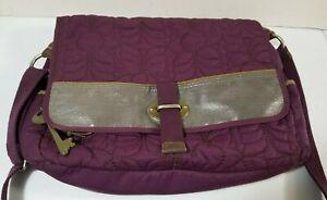 Fossil Key-Per Plum With Silver Messenger Bag Shoulder Bag Laptop Bag