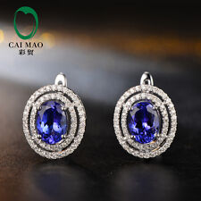 Caimao Anniversary New 6x8mm Oval Shape 3.05ct Tanzanite 14k White Gold Earring