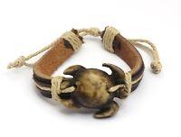 Adjustable Black & Beige Leather Bracelet with a Tribal Sea Turtle Design