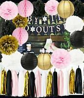 Mother's Day Party Decor Pink Gold Paper Pom Pom White Black Tissue PomPoms US