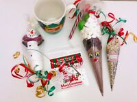 christmas eve gifts, hot chocolate mugs, santa key and reindeer dust