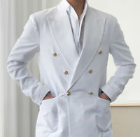 Men White Linen Suits Double-breasted Wide Lapel Party Prom Formal Tuxedos