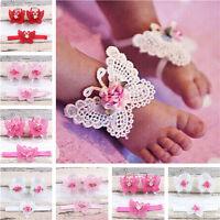 Neugeborenes Baby Mädchen Schmetterling Stirnband Kopfschmuck Fuß Blume JM