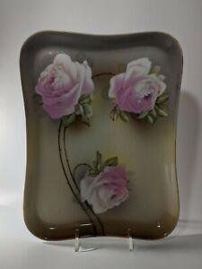 Vintage Vanity Dresser Tray Floral Hand Painted Pink Roses Flowers Porcelain