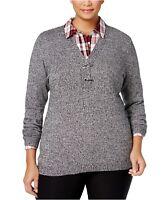 Charter Club Women's Plus Size V-Neck Henley Sweater - Deep Black Combo - 0X