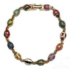 """VINTAGE Joan Rivers Plated Colorful Enamel Fabergé Eggs Lady Bug Bracelet 7"""""""