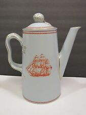 Copeland Spode Coffee Pot Trade Winds Red Newport Tall Ships Glory of Seas Salem