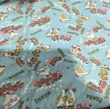 Vtg Panda Kitten Cat Geese Ducks Birds Flowers Single Duvet Cover Fabric Cutter