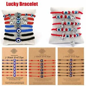 6Pcs/Set 7 Knot Lucky Blue Evil Eye Bracelet Amulet Kabbalah Wholesale Women men