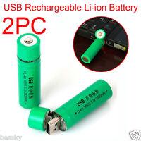 2PCS 18650 3.7V 3800mAh USB Rechargeable Li-ion Battery for Flashlight Torch New