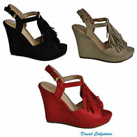 Scarpe da donna sandali con zeppe alte e plateau cinturino beige rosse 40 estive