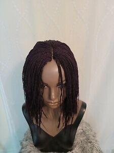 Fully Handmade African Micro Million Twist 12 '' braided wig purple