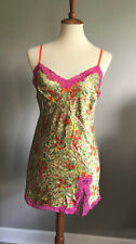 VICTORIAS SECRET Silky Satin Lingerie Night Gown Green & Pink Floral Size M