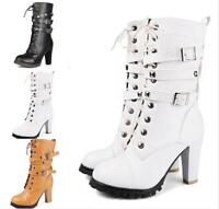 Women's Block Heel Buckle Rivet Lace Up Zipper Mid Calf Boots Gothic Shoes 34-48